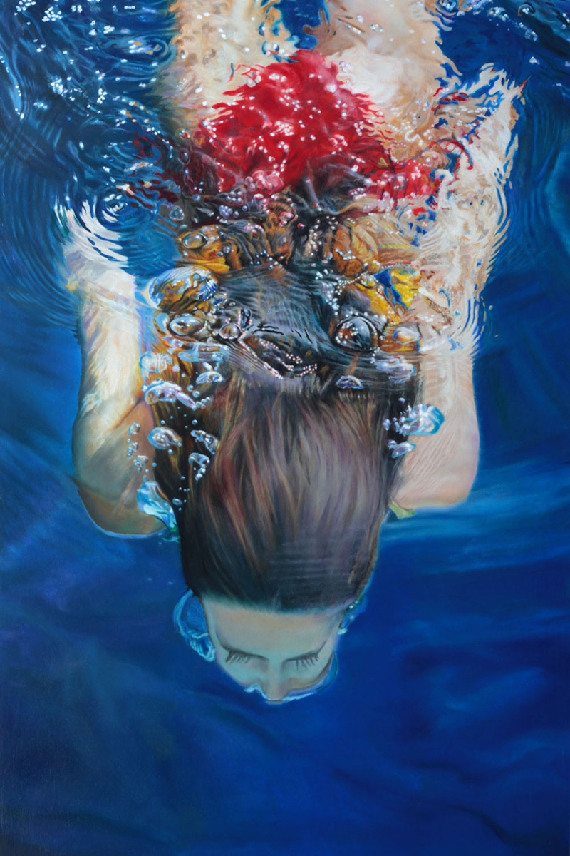 Hyperrealist oil painting of woman floating underwater by Matt Story