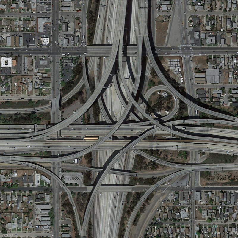 Traffic intersection; Los Angeles