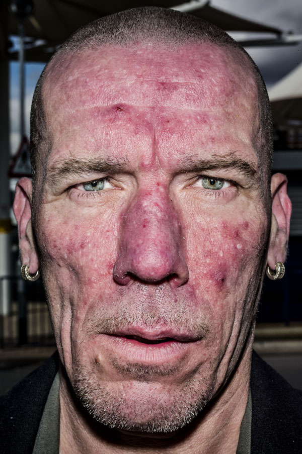 GB. West Bromwich. 2014. Andy, from Newcastle, at the bus station.